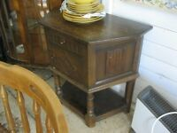 VINTAGE ORNATE SHAPED, SOLID OAK 'LINENFOLD' HALL CABINET.IDEAL PAINTED IF DESIRED.DELIVERY POSS