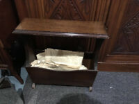 Nice Vintage Wooden Side Table / Magazine & Newspaper Rack Storage Shelf Stand