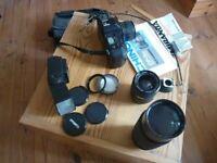 Chinon CP-7m Camera with various lens' Miranda Flash, and accessories, bagged.