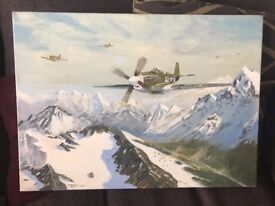 Painting of Typhoons and a pastel drawing of a tank