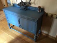 Blue, solid wood Side board