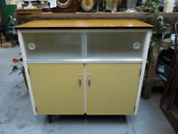 Mid Century Sideboard Kitchen China Cabinet 1950's Vintage Cupboard Glass Unit