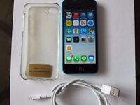 Apple Iphone 5C UNLOCKED Blue very good condition new battery with case