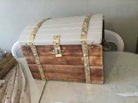 Trunk style wooden storage box