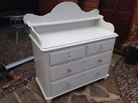 Victorian Pine Chest of Drawers, painted ash white, beautiful clean condition. Macclesfield Cheshire