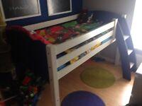 Single solid wood mid sleeper bed