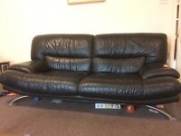 Large Leather 3 Piece Suite, Black - mainly V good condition - £200 for quick sale