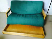Futon Company two seater futon sofa bed with pull out storage tray