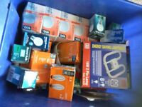 Box of about 60 assorted light bulbs