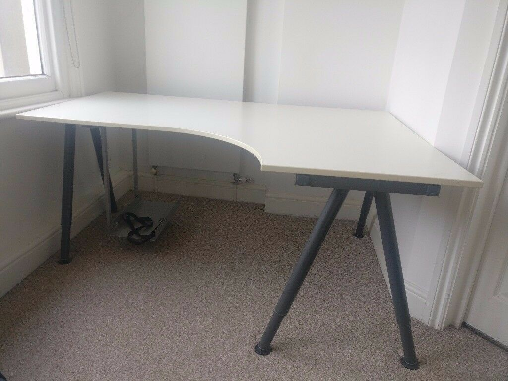 ikea galant white corner desk 160 x 110cm optional computer holder summera in islington. Black Bedroom Furniture Sets. Home Design Ideas