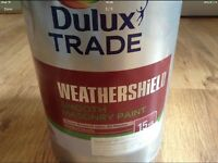 NEW 5LTR TIN DULUX WEATHERSHIELD SMOOTH MASONRY PAINT IN 'CHALK DOWNS' (CHALKY WHITE)