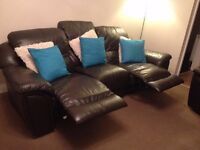 Brown leather reclining settee, 3 and 2 seater
