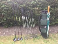 Golf clubs - full set of clubs Driver, 3 & 5 Wood, Irons (3-SW) Putter, golf bag, golf trolley &more