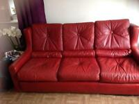 Vintage red leather 3 piece suite
