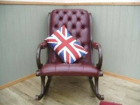 Stunning Oxblood Leather Chesterfield Rocking Chair.
