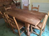 Solid Pine Dinning room table with 6 chairs
