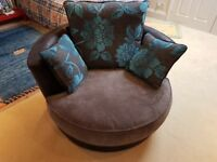 Swivel Chair Leather with Fabric Base Cushion and Reversible Back Cushions