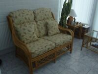 Conservatory wicker furniture for sale - sofa, two chairs and table