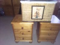 Pine side tables, dressing table and stool with a small trunk