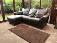Sofitalia International® Genuine Brown Leather Corner Sofa
