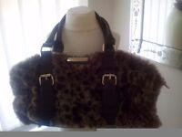 River island faux fur leopard handbag