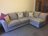 Beautiful corner sofa and chair with pouffe