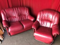 RED LEATHER 2 SEATER SOFA WITH ARM CHAIR,CAN DELIVER
