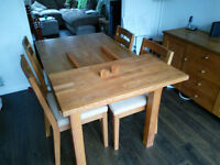 Solid Oak dining room furniture - table, 6 chairs, extender and sideboard