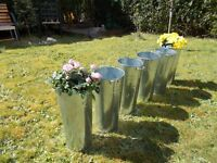 6 Galvanised Flower Display Buckets
