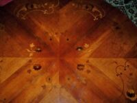 Reduced to £180 Beautiful Round Dining table with patterned top and pedestal leg