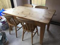 Bespoke pine dining table and 4 chairs, can deliver