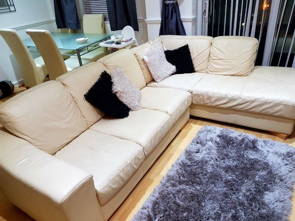 Cream Leather L-Shaped Detached Sofa