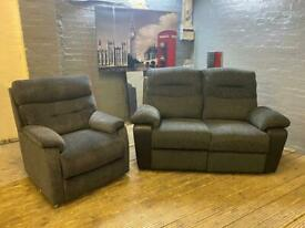 BLACK FABRIC SOFA SET HIGH BACK IN NICE CONDITION 2+1 seater
