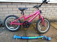 Girls fisrt bike with tow bar