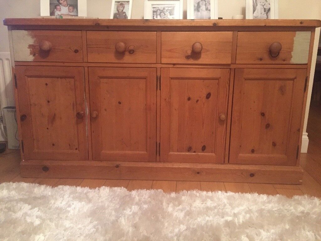 Lovely 4 draw, 4 door pine side unit
