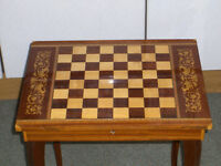 VINTAGE OR ANTIQUE WOODEN musical GAMES CHESS DRAUGHT TABLE #FREE DELIVERY#