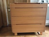 Mamas and Papas oak wood cot bed, wardrobe and changing table/chest of drawers