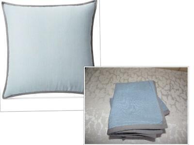 $270.00 Set of 2 Lauren Ralph Lauren Devon Rustic Linen European Shams, Blue