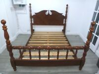 ANTIQUE DOUBLE SOLID WOODEN BED FRAME