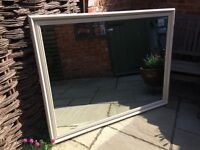 Very large wooden frame mirror with bevel edge glass painted vintage cream