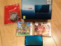 Nintendo 3DS Console (Aqua Blue) c/w Charger & Box + 2 3DS Games