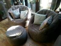 Luxury beanbag chairs and matching footstool