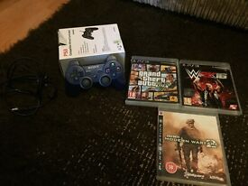 PS3 controller with lead and 3 games