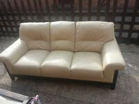 CREAM LEATHER SOFA ON WOODEN FRAME