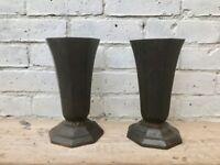 Pair of Cast Iron Urn Planters Vases #453