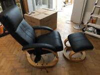 Black (faux) Leather massage chair