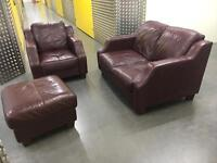 Genuine leather 2+1 seater with foot stall •free delivery