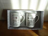 Mr & Mrs Wedding Day Mug Set (New & Boxed)