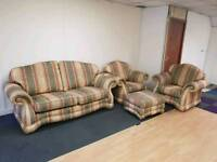 Sofa and 2 chairs and foot stool suite
