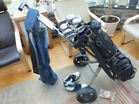 Full set of Spalding clubs with Wilson woods, trolley shoes,bag etc